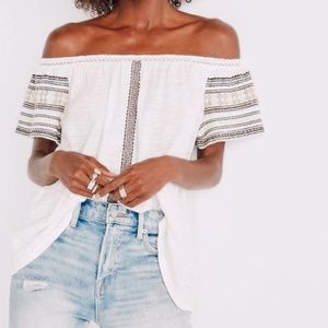 • LUCKY BRAND • embroidered off the shoulder top